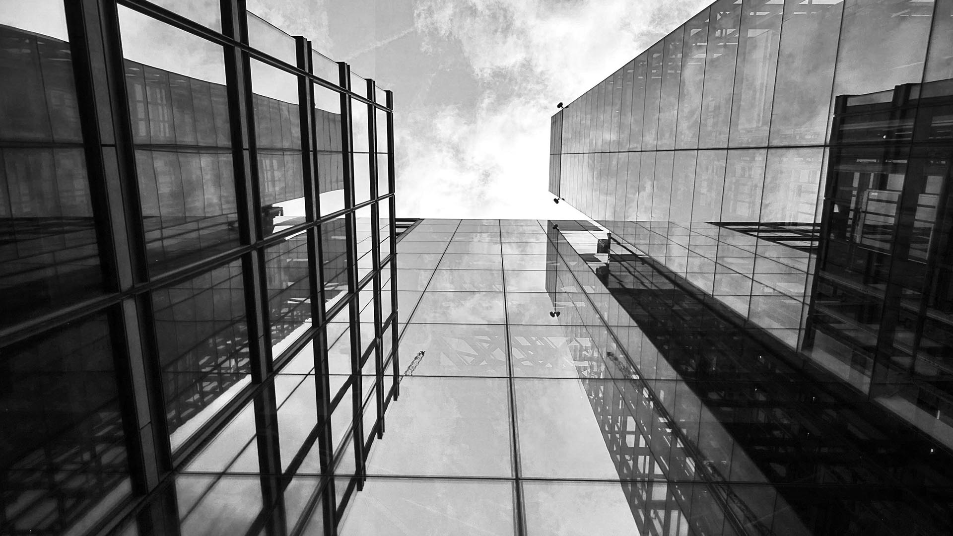 view looking up of tall office buildings